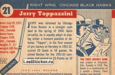 Jerry Toppazzini (Chicago Black Hawks) - обратная сторона