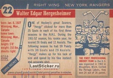 Wally Hergesheimer (New York Rangers) - обратная сторона